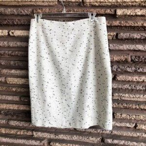 Talbots White Black Nubby Tweed Pencil Skirt